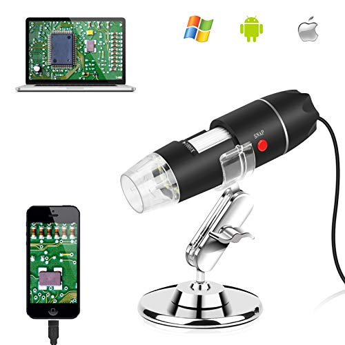 Allnice Digital Microscope 40X to 1000X USB Microscope Camera Mini Handheld Microscopes with 8 LEDs and Metal Stand Compatible with iPhone Android Windows7/8/10 Linux Mac