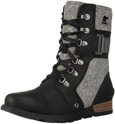 Sorel Women's Major Carly Combat Boot, Black, Quarry, 8 M US