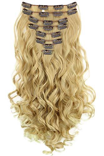 PRETTYSHOP XXL 45cm 8 Teile Set CLIP IN EXTENSIONS Haarverlängerung Haarteil Voluminös Gewellt Blond Mix CES4-1