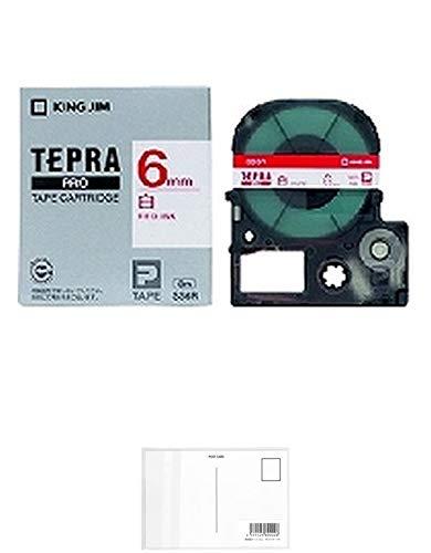 キングジム テープカートリッジ テプラPRO 6mm SS6R 赤文字 【× 2 個 】 + 画材屋ドットコム ポストカードA