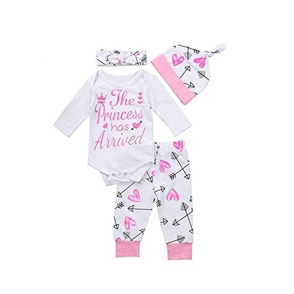4Pcs Newborn Baby Girl Outfits Clothes Long Sleeve Romper Bodysuit Onesie Long Floral Pants Leggings Hat Headband Set