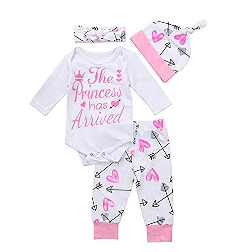 Body para recién nacido, bebé, niña, diseño de flecha, pantalón largo, conjunto de 4 piezas rosa recien nacido