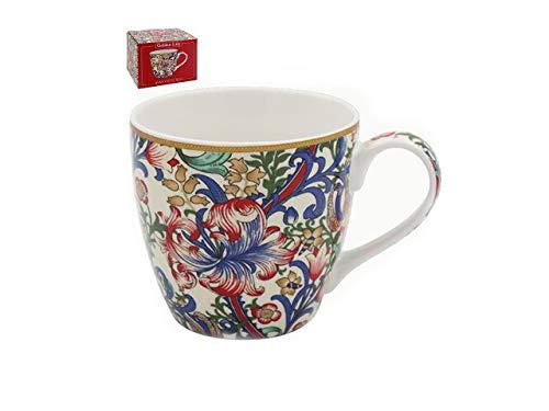 Taza de desayuno de China – grande 380 ml de capacidad, en caja individual, William Morris Golden Lirio