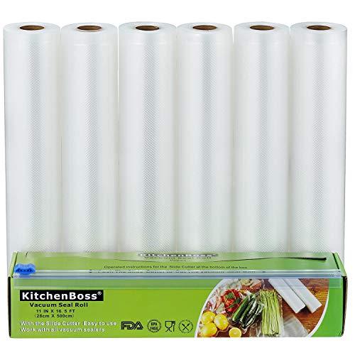 KitchenBoss Sac Sous Vide Alimentaire,6 Rouleau 28cmx5M,Total 30 M,Rouleaux de Mise Sous Vide avec 1 Boîte de Coupe(Pas Plus de Ciseaux) sans BPA,pour Machine Sous Vide KitchenBoss