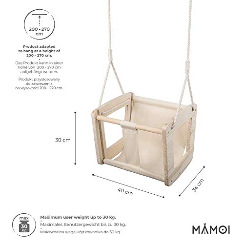 MAMOI Baby Swing Swing Baby Wooden Swing Adult Indoor Designer Children's Swing Swing Seat Baby Seat Wood ECO up to 30kg! | Made in EU ECO | CE certificate