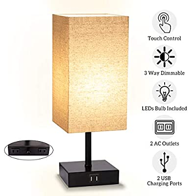 Table Lamp Touch Control, 3 Way Dimmable Bedsid...