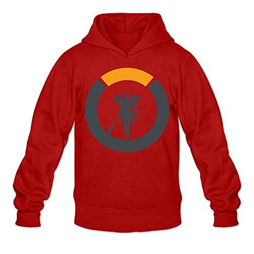 Men's Overwatch Mercy Logo Hooded Sweatshirt Red L