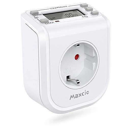 Digitale Zeitschaltuhr Steckdose, Maxcio 16 Programmierbare wöchentlichen Timer Steckdose mit Countdown und Anti-Theft-Modus, LCD Display, für Aquarium usw. 16A / 3680W 1 Pack