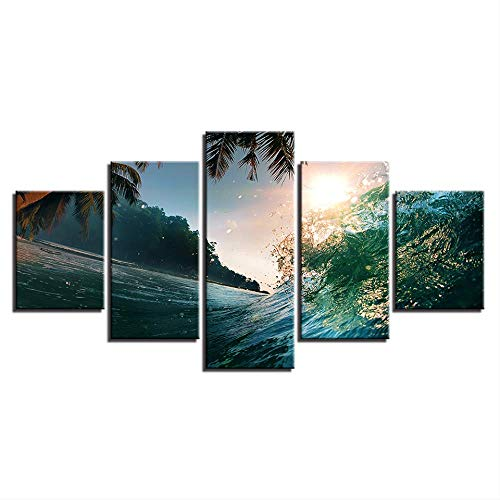 Canvas Schilderij Woondecoratie 5 Stuks Zonsondergang Strand Golf Palmboom Zeezicht Poster Slaapkamer Muurkunst Hd Print Fotolijst 40X60 40X80 40X100Cm Geen Frame