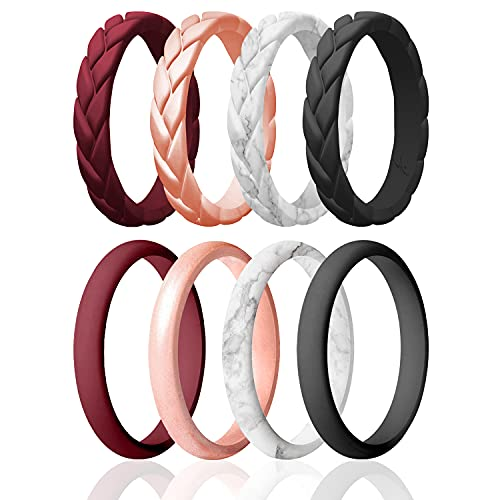 ROQ Silicone Rings for Women - Thin Womens Silicone Rubber Wedding Rings Bands - Braided Flame Leaves and Point Collection - Can Be Used as Stackable Rings - Maroon, Rose Gold Colors - Size 7