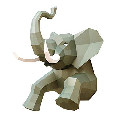 Trofeo De Papel De Elefante DIY Kit De Animales De Origami Montado En La Pared DIY Papercraft Modelo De Papel De Animal 3D Trabajo Hecho A Mano Creativo Niños DIY Juguete