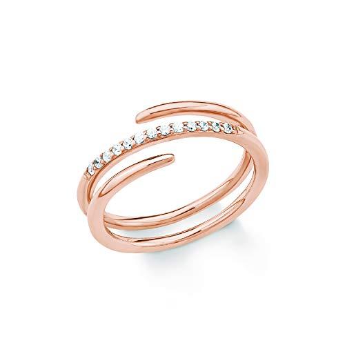 S.Oliver Damen Ring 925 Sterling Silber rosévergoldet Zirkonia weiß