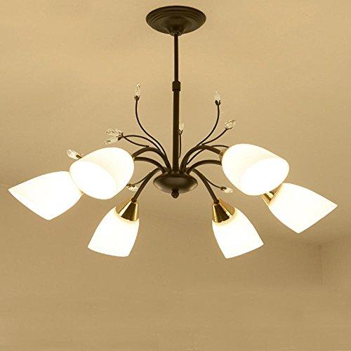 6 lámparas de araña con diseño de flores, lámpara de araña de cristal, decoración de rama de restaurante, lámpara de techo para dormitorio, color negro