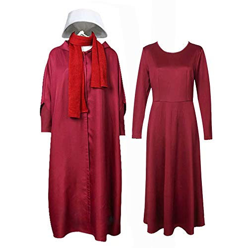 Amatop The Handmaid`s Tale Costume Mujeres Halloween Offred Red Cape Dress Disfraz de Bruja con Capucha Disfraz de Fiesta con Capucha Raven Cosplay Capes