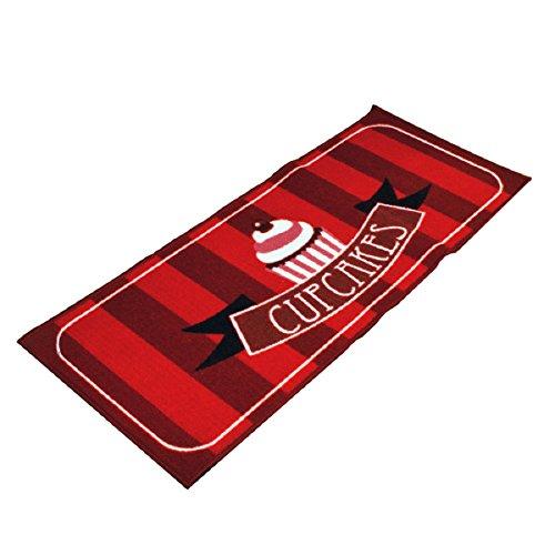 Carpemodo Küchenteppich Muster: Cupcakes, Farbe: Rot, Größe: 50x120 cm