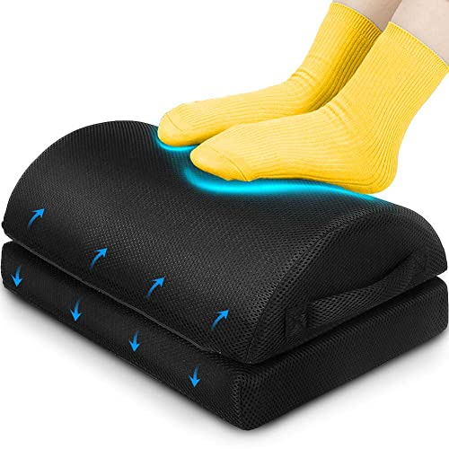 LOMTI Foot Rest for Under Desk at Work 2-Tier Adjustable Heights and Memory Foam, Ergonomic Foot Stool Pillow Added Comfort for Your Home Office