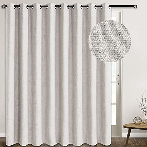 Extra Wide Linen Blackout Curtain Patio Door Curtain 100 Inch Sliding Door Curtains Total Blackout Burlap Curtains for Sliding Glass Door(W100 x L84 1 Panel, Beige)