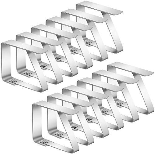 SUSSURRO 12 Stück Tischdeckenklammer Edelstahl Tischtuch Klammer Tischabdeckungsklemmen Tischdecke Clips Tischtuch Clips Tischdeckenhalter für Restaurant,Partys,Picknicks Buffets