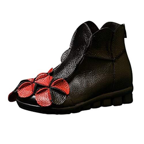 MYMYG Ankle Boot Winterschuhe Frauen handgenähte Blumen Schuhe ethnischen Stil Stiefel Leder Casual...