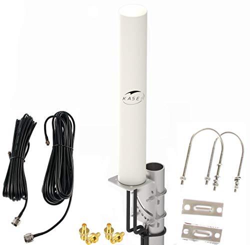 KASER Antenne 4G LTE Exterieur Mimo Omnidirectionnel Étanche 696 – 2700 MHz connecteur SMA CRC9 TS9 Compatible pour Routeur 4G Gagnez jusqu'à 12 dBi Réception jusqu'à 15 KM (Câble 2 x 10 m)