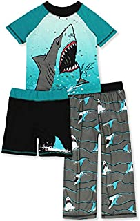 Image of 3 Piece Shark Short Sleeve Pajamas for Boys