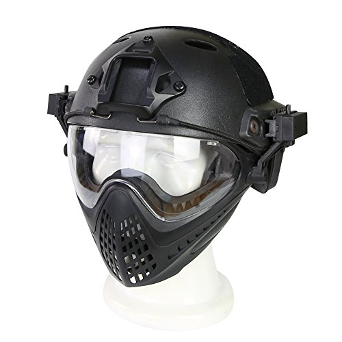 Tactical Military Ballistic Helm mit Schutzbrille Seitenschiene NVG Shroud Transfer Base Army CS Combat Airsoft Paintball Full Face Mask Helm