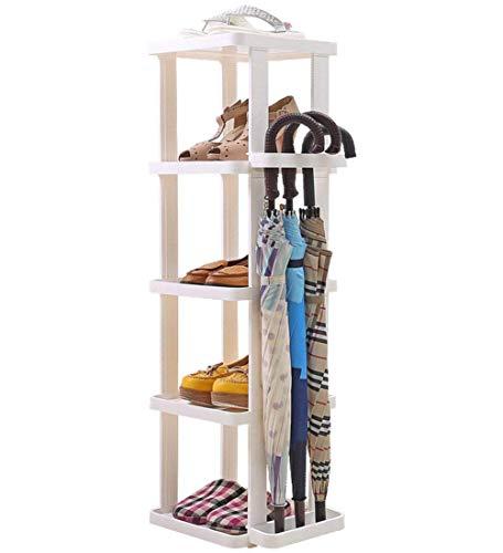 KANJJ-YU Zapatero de plástico de 5 niveles, fácil con estante para paraguas, organizador de almacenamiento de pie, montar fácilmente blanco, estantes de 34 x 29,5 x 100 cm