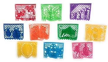 3 Pack  Mexitems Plastic Papel Picado Mexican Decoration Plastic Banner 20 Feet EA 10 Large Panels  3 Pack