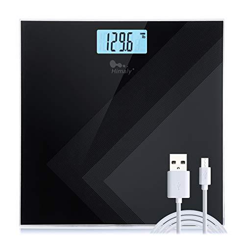 Himaly Carga USB Báscula de baño Antideslizante, Digital de Alta Medición Precisa 180kg / 400lbs, Pantalla LCD digital de gran área (Negro)