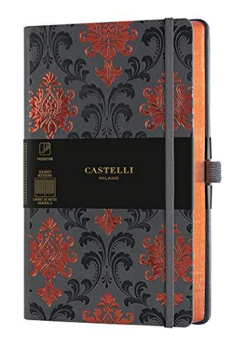 Castelli Milano COPPER & GOLD - Cuaderno 13 x 21 cm, páginas a cuadros, tapa rígida, color gris oscuro, 240 páginas, color Baroque Copper Medium