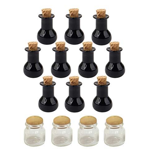 Milageto 14 Piezas 1/12 Dollhouse Corcho Botella Vacía Comida Condimento Botellas Set Decoración