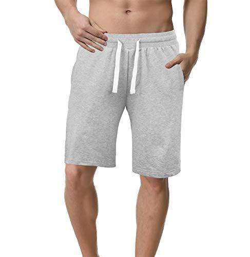 iClosam Hombre Pantalones Cortos Plisados del algodón para Entrenamiento y Jogging Deportivo Fitness Cintura con cordó (Gris claro-1Piece, XXL)