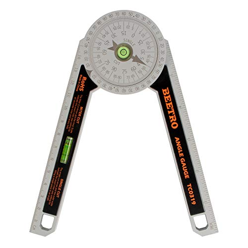 BEETRO Miter Saw Protractor, Perfect Molding Angle Gauge with Two Horizontal Bubbles for Crown Molding, Miter Cuts, Carpentry, and More