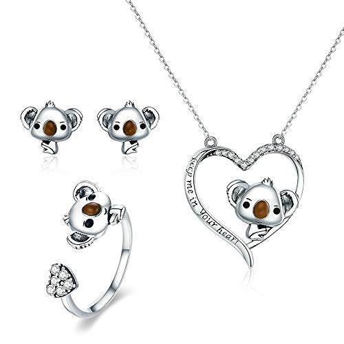 Juego joyas plata ley 925 diseño oso koala