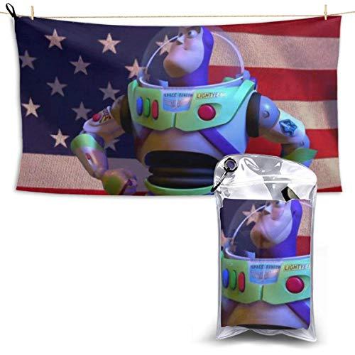 Toallas,Toy Story Buzz Lightyear America Flag Toalla De Playa De Secado Rápido para Mujeres, Lindas Y Divertidas Toallas De Baño para Correr En El Gimnasio,70x140cm