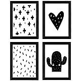 Nacnic Set de 4 láminas 'Cactus y corazon'. Posters de animales. Tamaño A3 sin marco