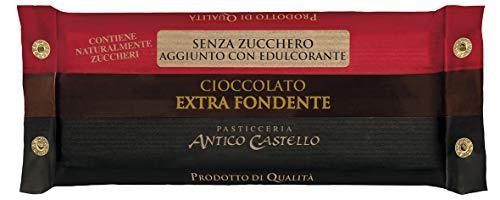 Cioccolato Extra Fondente SENZA ZUCCHERO aggiunto, 200 gr - Pasticceria Antico Castello
