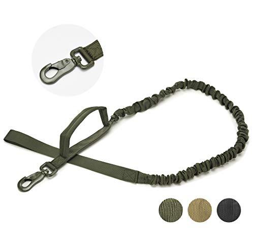 Taktische Bungee-Hundeleine, elastische Militär-Trainings-Hundeleine für Stoßdämpfung, starke Schnalle, Komfort, Haustier-Leine mit 2 Sicherheitsgriffen, für Training und Spaziergänge, Armeegrün