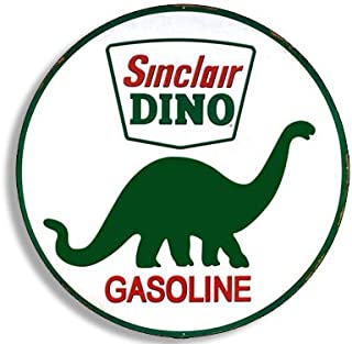 American Vinyl Round Vintage Sinclair Dino Gas Sticker (Gasoline Logo Old Rat Rod car)
