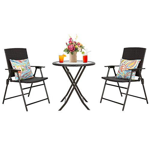 this steel wicker folding patio bistro set is the perfect balcony furniture idea for a small terrace