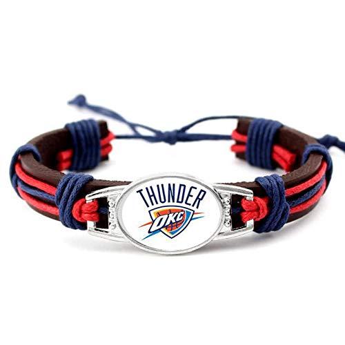 LVQIANHOME Pulseras de acero de titanio con logotipo del equipo de la NBA, para hombre, estilo retro, para deportes y ocio, personalizadas, con caja de regalo