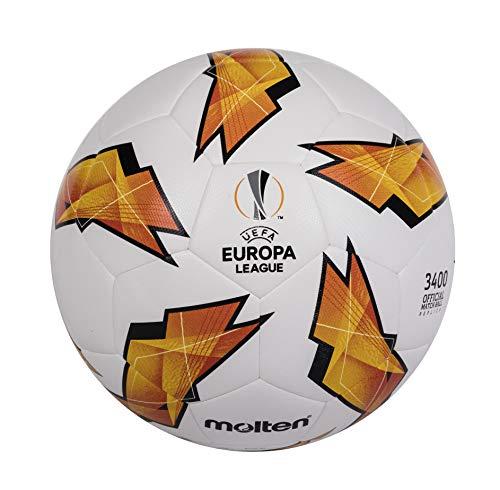 Molten Unisex– Erwachsene Europa League 2018/2019 Replica Fußball Sportmagazin, weiß/orange, 5