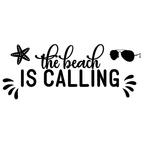 MOVANKRO The Beach is Calling Ocean Sea Star Sunglasses Vinyl Wall Decal Quotes Positive Motto Art Letters Sayings Kids Living Room Décor Lettering
