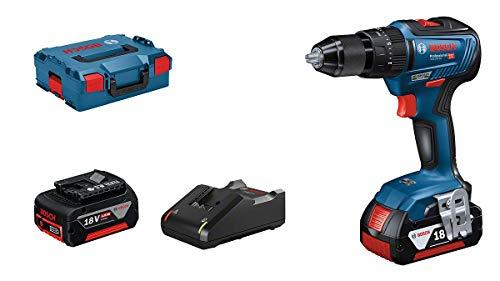 Bosch Professional 06019H5300 - Trapano a percussione GSB 18V-55, 2 batterie da 4,0 Ah, sistema a 18 Volt, diametro foro in muratura: 10 mm, in valigetta L-BOXX, 18 V, blu