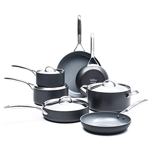 GreenPan Parigi 11 Piece Hard Anodized Non-Stick Ceramic Cookware Set by the Cookware Company