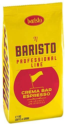 Baristo Ganze Kaffeebohnen Crema Bar Espresso, Nachgeschmack Tabak Schokolade, 48% Robusta, 52% Arabica, 1kg