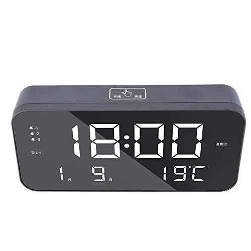 hlyhly Despertador Digital Reloj Digital New Multifunctional Home Large Screen Bedside Dual USB Students-Black Shell + White Font