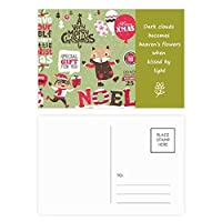 クリスマスの動物のメリー・クリスマス・フェスティバル 詩のポストカードセットサンクスカード郵送側20個