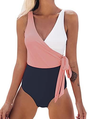 CUPSHE Damen Badeanzug mit Wickeloptik Farbblock Geknotete Einteilige Bademode Swimsuit Rosa/Weiß L