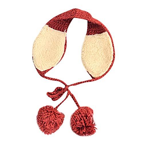 Dorical Damen Ohrenschützer Mädchen 2 In 1 Schal Earflap Winter Warme Beanie Mütze Wolle Wintermütze Strickmütze für Frauen gestrickte Mütze mit Pompom (Z02-Rot)